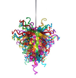 Wholesale Modern Murano Art Glass Chandeliers - Modern LED Pendant Lighting 100% Mouth Blown Borosilicate Glass Art Lighting Chihuly Style Multicolor Hand Blown Murano Glass Chandelier