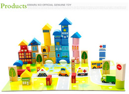 Wholesale Traffic Toys - New 62pcs Safety color cartoon images city traffic scene wooden building blocks Children's birthday and Christmas gift
