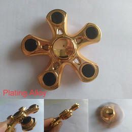 Wholesale Gold Plated Kids - Best quality five angle Fidget Spinners plating alloy hand spinner pentagon spinning top decompression novelty toys free shipping