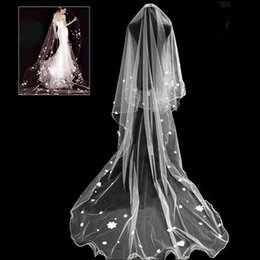Wholesale Cheap Hair Nets - 2018 New Romantic 3-Meter Long White Cathedral Wedding Veil 1 Layer Tulle with Appliques Cheap Bridal Hair Accessories
