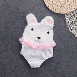 Wholesale Bodysuits Cartoon - ins 2017 Summer New Baby Girl Bodysuits Polka Dot Cartoon Bow Bunny Sleeveless TUTU Jumpsuit Overalls 0-2Y CC018