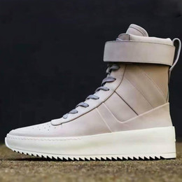 Wholesale Women Custom Motorcycles - 100% Real leather Custom made 2016 FEAR OF GOD Military High-Top Sneakers Gum Grey Nubuck Boot Fog Women Shoes