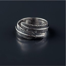 Wholesale Thai Silver Jewelry Wholesale - Free Shipping Vintage 925 Sterling Silver Thai Silver Feather Ring for Women Jewelry Gift Finger Open Rings