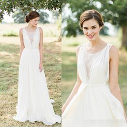 Wholesale Gown Dreses - Vintage Ivory 2017 Summer Beach Wedding Dreses A-Line Soft Chiffon Cheap 2017 Bohomia Bridal Gowns Summer Dress for Party Bridesmaid Wear
