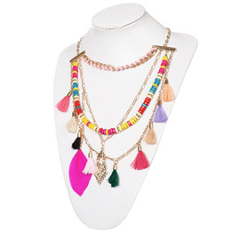 Wholesale Wholesale Tassel Wood - 5Pcs Ethnic Colorful Wood Beads Tassel Necklaces & Pendants Women Fashion Jewelry Unique Multilayers Statement Necklace Free Shipping