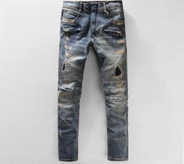Wholesale High Quality Denim Jeans - High Quality Ripped Jeans For Men Knee Pleated Stretch Denim Mens Moto Distressed Jeans Zipper Closure
