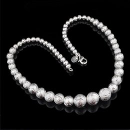 Wholesale 925 Sterling Silver Buddha - Indian Buddha Necklace 18inch Smooth Frost Beads Necklace Collar Charms Natural Stone 30% 925 Sterling Silver Women Jewelry