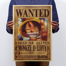 Wholesale Vintage Televisions - Home Decor Wall Stickers Vintage Paper Retro Anime Poster Luffy Wanted 51x35.5cm One Piece Posters Kid Cudi Poster Vin