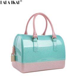 Wholesale Designer Beach Totes - Wholesale- 2016 Fashion Trendy Ladies PVC Jelly Handbags Designer Patchwork Girls' Beach Bag tote Glittering Woman Bag Hand Bag BWC0982-49
