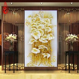 Wholesale Lily Canvas Paintings - YGS-077 DIY 5D diamond Painting crystal lily flower 3D Cross Stitch Decorative Needlework diamond mosaic diamond embroidery