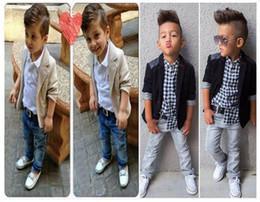 Wholesale Boys Collared T Shirt - Children Clothing Autumn Spring Boys Gentlemen Suit Jacket + T shirt + Jeans 3 Pcs Sets 7 s l