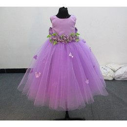Wholesale Cute Lovely Beautiful Girls - Princess Cute Lovely Petals Flower Girls Dresses Back With Bowknot Tulle Beautiful Girl Dress For Wedding Party Gowns Custom Made EN7121
