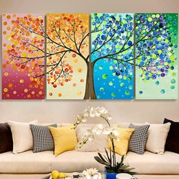 Wholesale Canvas Wall Decor Free Shipping - Free shipping,Abstract Life Tree Oil Painting On Canvas Beautiful Life Handmade High Quality Home Office Hotel Wall Art Decor Decoration