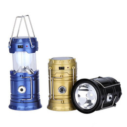 Wholesale Camping Lamps Led - New Outdoor Collapsible Solar Lanterns Camping Lantern Flashlight Portable Solar Lamps Tent Light USB Rechargeable Emergency Light