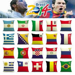 Wholesale Cushions For Sofa Red - 2014 World Cup National Flag Cushion Covers Linen Germany Brazil Russian Flags Decorative Football Nation Team Pillowcase for Sofa Bed Seat