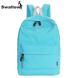 Wholesale College Book Bag - Wholesale- Preppy Style Canvas Summer Backpack For Teenagers Girls Solid Pure Color School Leisure Book Daily College Light Student Bags
