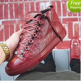 Wholesale Sexy Gold High Heels - 2017 New Hot Sales Name Brand Fashion Sexy Top Quality Men Flats Designer Men Shoes Lace up Shoes Mens High for boots