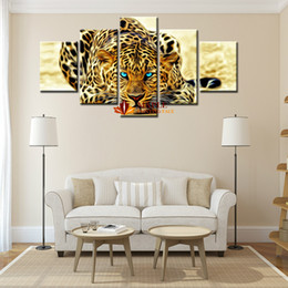 Wholesale Leopard Wall Art - 5 Piece Abstract Leopards Modern Home Wall Decor Wall Picture For Living Room Canvas Picture Art HD Print Painting Set of 5 Each Canvas Art