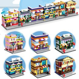 Wholesale Wholesale Toy Stores - 6set lot Mini Street Building Shops Pizza Hut Fruit Store Sport Shop Comestic Store Ice Cream Shop Blocks Street Stores Figures Toys