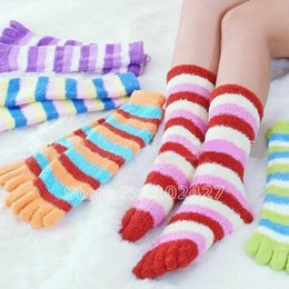 Wholesale Colorful Socks Toes - Wholesale- 5 Pairs Wholesale Mix Colorful Women's Girls Winter Warm Stripes Five Finger Toe Socks
