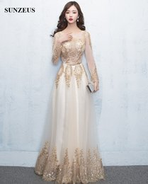 Wholesale Sexy Sequin Tops - 2017 Long Sleeved Evening Dress Gold Sequins Lace Formal Gowns Sexy Sheer Top Long Women Party Dress Champagne