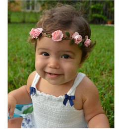 Wholesale Childrens Fabric Flower Headbands - Childrens Accessories Kid Roses Flower Headband Hair Bands Infants Baby Hair Accessories Fabric Flowers Headbands For Girls