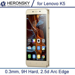 Wholesale Arc Tools - Wholesale-0.3mm Tempered Glass for Lenovo k5 k5+ A6020 9H Hard 2.5D Arc Edge High Transparent Screen Protector with Clean Tools