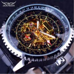 Wholesale Winner Transparent - Jaragar Calibration Dial Display Golden Movement Inside Transparent Case Mens Watch Top Brand Luxury Male Wrist Watch Automatic