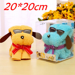 Wholesale Puppy Dog Towels - Wholesale-10pcs 20*20cm Cotton Creative Mini Puppy Dog Towel For Wedding Valentine's Mother's Day Christmas Gift baby show souvenirs