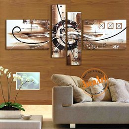 Wholesale Cheap Large Framed Art - Hand Painted Canvas Oil Painting Abstract Wall Art 4pcs Home Decor Picture Sets Large Cheap Canvas Art for Living Room No Frame