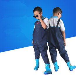 Wholesale Kids Hunting Boots - Wholesale- Children's fishing seaside play water suspender trousers underwater pants kids thicken rubber waterproof water boots wader shoes