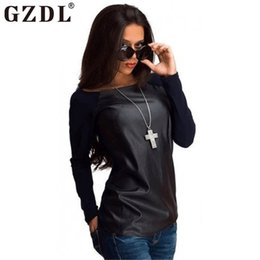 Wholesale Women Long Leather Sleeve Shirts - Wholesale- Women Sexy Off Shouder Shirt Autumn Winter Patchwork Personality Pu Leather Long Sleeve Casual Loose Fall T Shirt Tee Tops 2393
