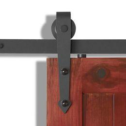 Wholesale Wood Barn - 4-8FT Country Interior Single Wood Sliding Barn Door Hardware Track Hanger Roller Set Kit Arrow Style Closet