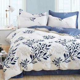 edredom floral branco preto Desconto Venda por atacado - Azul folha de oliva imprimir roupa de cama set listrado xadrez conjuntos de cama boêmio colcha floral roupas de cama estilo moderno capa de edredão