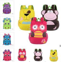 Wholesale Wholesale Wheeled Backpacks - Backpacks School Bags Owl Monkey Neoprene Kids Unisex Cartoon Animal Lovely Backpacks Double Zipper Children School bags For Girls Boys