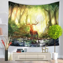 Wholesale Woven Table Mats - 20 Styles Polyester Deer Tapestry Colored Printed Decorative Mandala Tapestry Indian 130cmx150cm Boho Wall Carpet Table Cloth Yoga Mat