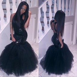 Wholesale Sexy Ivory Corsets - Sparkly Black Girls Mermaid African Prom Dresses 2017 Sexy Corset Halter Neck Sequins Formal Evening Dress Cheap Tulle Party Pageant Gowns