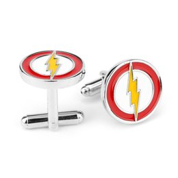 Wholesale Flash Cufflinks - Alloy superhero lightning The Flash Cufflink Cuff Links sleeve button for men shirts dress suit Cuff-links luxury jewelry 170351