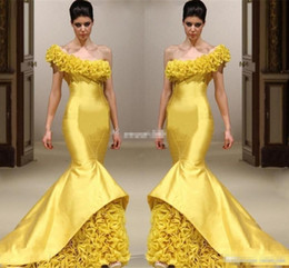 Wholesale Modern Design Carpets - New Design Yellow Mermaid Pageant Evening Dresses One Shoulder Hand Made Flower Floor Length Formal Gowns Mermaid Satin Long Prom Dress 2017