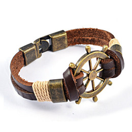 Wholesale Mens Leather Bracelets Brown - Wholesale-Free Shipping New 2016 Summer Style Mens Leather Bracelets & Bangles Vintage Helm Brown Bracelet Men Jewelry Hot Sale YK2019