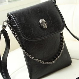 Wholesale Skull Pattern Bag - Wholesale- 2015 NEW Fashion Skull pattern Headbags Women Messenger bag Ladies Casual PU Leather Mini Mobile Phone bag Tote