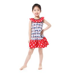 Wholesale White Knee Length Frocks - Red White Blue Patriotic Girls Dress Cute Collar Frock Western Girls Outfit 4th of July Clothing