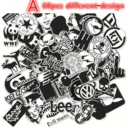 Wholesale Diy Phone Stickers - 60pcs lot Black and White Cool DIY Stickers For Skateboard Laptop Luggage Snowboard Fridge Phone Toy Styling Home Decor Stickers