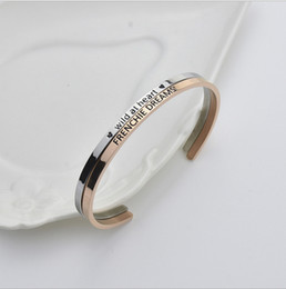 Wholesale Titanium Bangles Male - Popular C - type open titanium steel jewelry bracelet male and female couple creative double - engraved bracelet