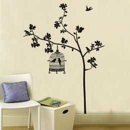 Wholesale Tree Birdcages Sticker - Swallow Singing Tree Birdcage DIY Wall Stickers Wallpaper Art Decor Mural Room Decal