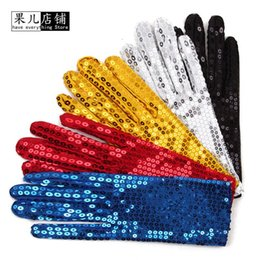 Wholesale Boys Mittens Black - 2017 Halloween Sparkly Sequins Wrist Gloves for Party Dance Stage Performance Event Kids Unisex Costume Fashion Girls Boys Gift