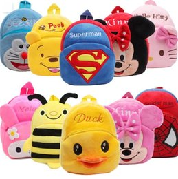 Wholesale Baby Party Bags - kids bags cartoon infant Plush Backpacks Super hero American captain batman hello kitty baby bags for party halloween