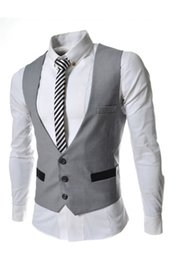 Wholesale Mens Black Dinner Suit - Wholesale- Custom Made Gray Black Navy Blue Mens Vest Formal Slim Fit Wedding Prom Dinner Suit Waistcoats Colete Groom Vest heren gilet