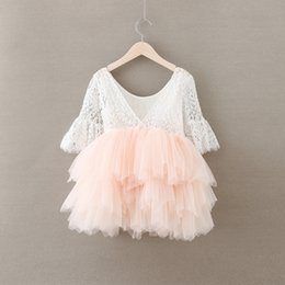 Wholesale Pearl Dress Tutu - Baby Girls Crochet Lace tulle Dresses Kids Girl Princess tutu Floral Dress Girl Autumn Pearl Party Dress