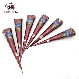 Wholesale Painting Finger - Wholesale- 6pcs Natural Brown Indian Henna Tattoo Paste Cones,Mehndi Henna Tattoo Paste Cream Finger Body Paint KAVERI Brand 25g